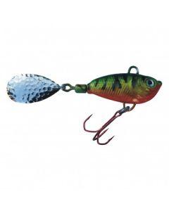 Spinner Jig mit Fischdekor Barsch / Blatt silber 13g