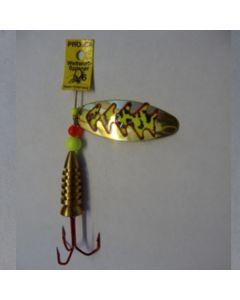 Spinner Oval - gold Folie feuergelb getiegert Größe 3