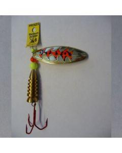 Spinner Oval - gold Folie signalrot getiegert Größe 6