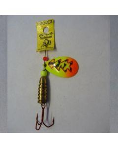 Spinner Tropfen - Fluo mit Reflexfolie feuergelb getiegert Größe 5