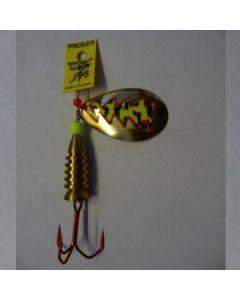 Spinner Tropfen - gold Folie feuergelb getiegert Größe 5