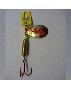 Spinner Tropfen - gold Folie signalrot getiegert Größe 5