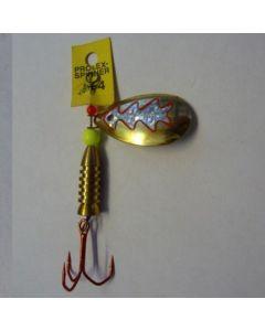 Spinner Tropfen - gold Folie silber metallic Größe 5