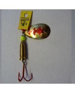 Spinner Tropfen - gold Folie rot metallic Größe 5