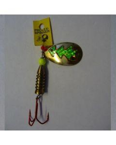 Spinner Tropfen - gold Folie grün metallic Größe 6