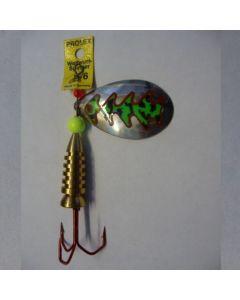 Spinner Tropfen - silber Folie fluogrün getiegert Größe 3