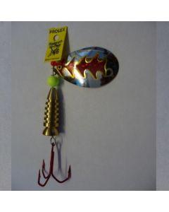 Spinner Tropfen - silber Folie rot metallic Größe 5