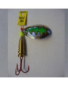 Spinner Tropfen - silber Folie grün metallic Größe 6